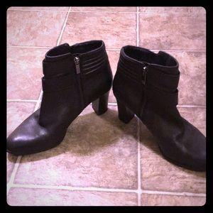Black leather bootie heels